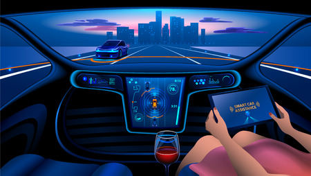 Illustration pour smart car interior - image libre de droit