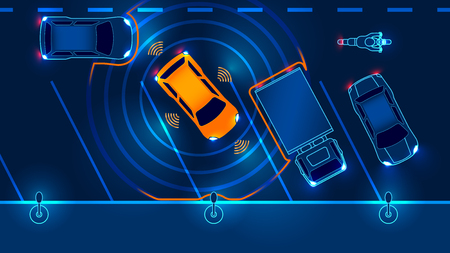 Photo pour Smart car is automatically parked in the Parking lot, the view from the top. Parking Assist system security scans the road. Vector illustration. - image libre de droit