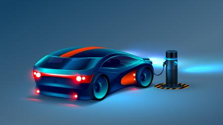 Illustration pour Electric car charging station. Future concept. VECTOR - image libre de droit