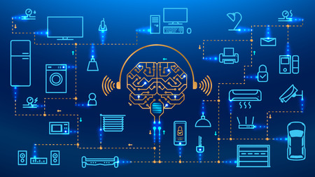 Illustration pour Smart house concept vector background. the Internet of things. IOT. Set icon and symbol. Artificial intelligence controls the things in the house. - image libre de droit