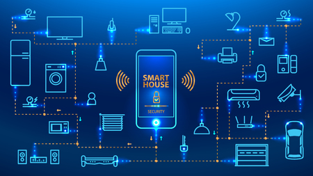 Illustration pour The Internet of things. The smart phone control the devices in the house. Smart home will obey the commands from your smartphone. Concept. vector - image libre de droit