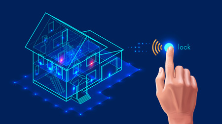 Illustration pour Security system of smart home. 3d house plan x-ray. Control locks the doors and windows over the internet with smartphone application. Home protection wireless system. VECTOR - image libre de droit