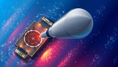 Ilustración de Rocket launch on autonomous spaceport drone ship in sea. Top view. spaceship takes off into space. Marine floating cosmodrome. Aerospace technology future concept. - Imagen libre de derechos