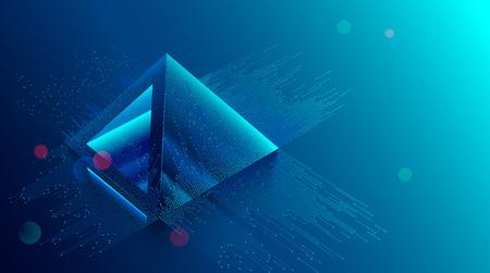 Foto de blockchain concept. Digital currency mining. Big Data Technology background. Financial pyramid consists of digits. - Imagen libre de derechos