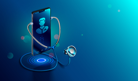 Illustration pour Doctor online concept. Icon Doctor through the phone screen using stethoscope checks health. Online medical clinic communication with patient. Vector isometric illustration. - image libre de droit