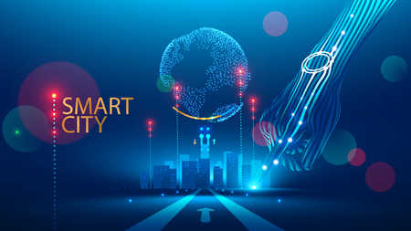 Smart City communication with global network and urban infrastructure. Wireless connection technology in lifestyle social medium. Communication Network transmit Information through internet of Things.