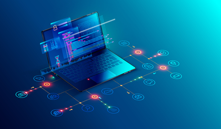 Illustration pour Software, web development, programming concept. Abstract Programming language and program code on screen laptop. Laptop and icons company network . Technology process of Software development - image libre de droit