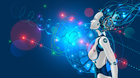 Illustration for Female humanoid robot or cyborg with artificial intelligence sideways. - Royalty Free Image