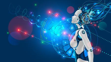 Illustration pour Female humanoid robot or cyborg with artificial intelligence sideways. - image libre de droit
