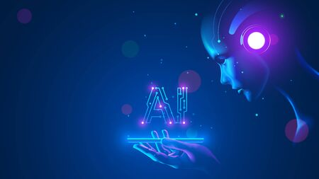 Illustration pour Cyborg woman look at logo AI hanging over phone. Abbreviation AI consists pcb elements. Artificial intelligence with beautiful face in blue virtual cyberspace leaning towards at screen smartphone. - image libre de droit