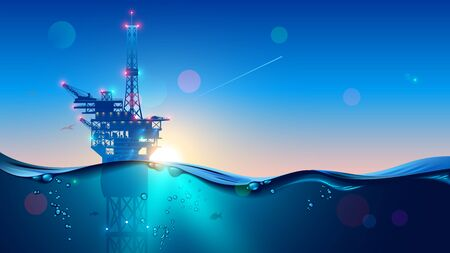 Illustration pour Offshore Oil or Gas Rig in sea at sunset time. industry drill platform in ocean. Water with underwater bubbles with sunrise on horizon. subsea marine landscape. Mining petroleum. - image libre de droit
