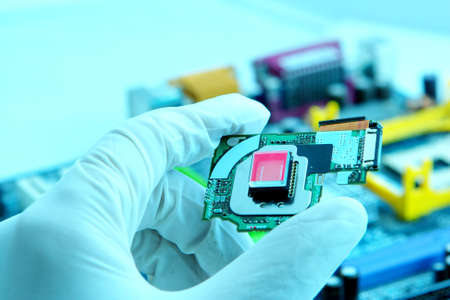 High technology chip quartz. Image in beauty blue colors