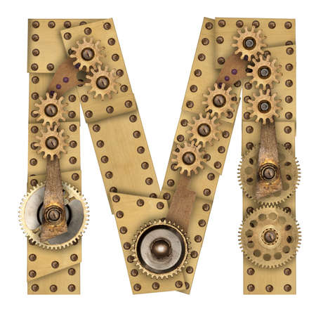 Steampunk mechanical metal alphabet letter M. Photo compilation