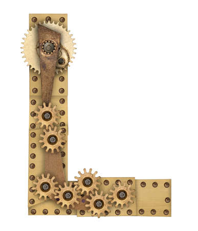 Steampunk mechanical metal alphabet letter L. Photo compilation