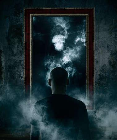 Photo pour Mirror. Terrible ghost on dark smoke background - image libre de droit