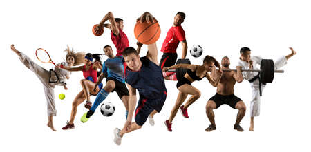Huge multi sports collage taekwondo, tennis, soccer, basketball, football, judo, etc