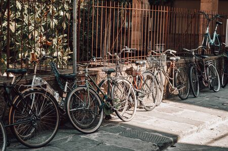 Foto per Florence street is full of bicycles. Tourism and travel concept. Mixed media - Immagine Royalty Free