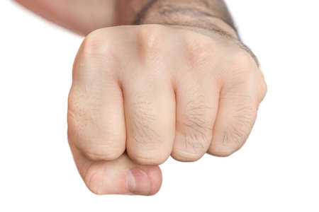 Photo for Fist of man isolated on white background - aggression and power symbol - Royalty Free Image