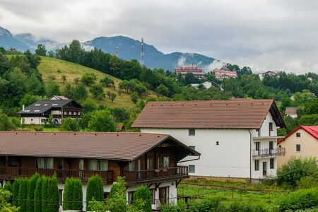 Modern houses on the hills from Bran, Brasov, Romania