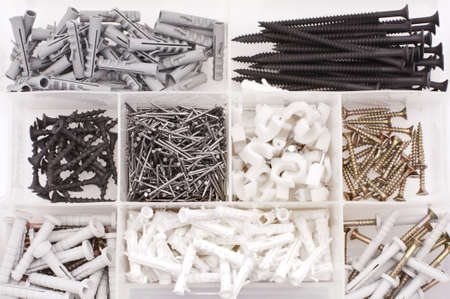 Screws, nails, dowels in the case
