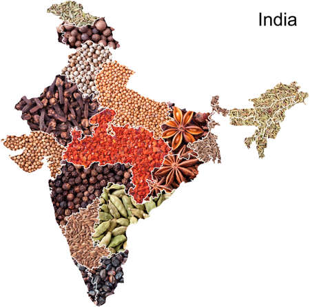 Political map of India with spices and herbs on white background