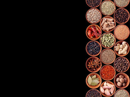 Spices seamless background on black