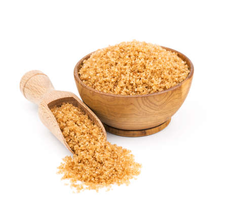 Photo for brown cane sugar in a wooden bowl isolated on white background - Royalty Free Image