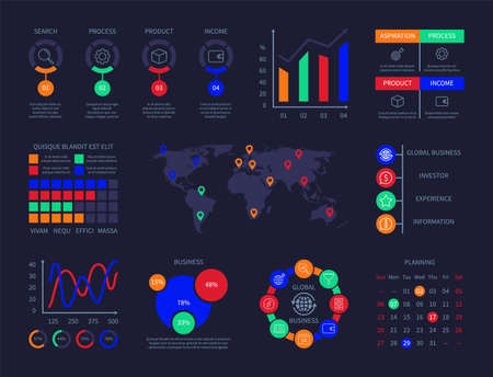 Illustration pour Control panel infographic charts analysis technology hud interactive info chart data user interface diagrams graph technology ui icon line timeline map slow chart vector infographics - image libre de droit