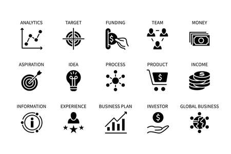 Illustration pour Business and finance, vector set of silhouette icons. Business management. Idea, planning, experience, product, money and more. Isolated collection of business symbols for websites. Editable stroke. - image libre de droit