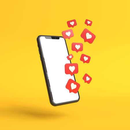 Photo for Social media like icons with a modern smartphone with blank screen on a yellow background. Minimal concept. 3D Render Illustration - Royalty Free Image