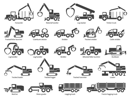 Illustration pour Forestry machinery icons set. Each icon with text label description. Forestry  machine types. Vector silhouette on white background - image libre de droit