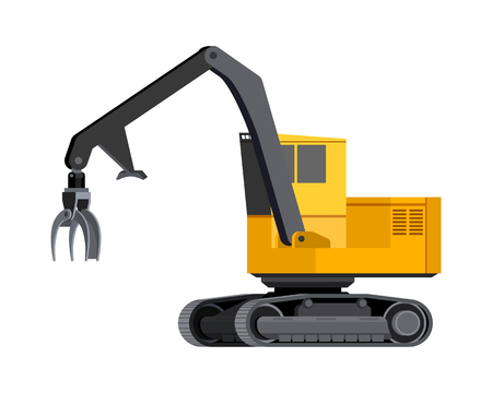 Illustration for Minimalistic icon log loader. Tracked log loader vehicle for worknig at forest area for sorting and loading wood pile. Modern vector isolated illustration. - Royalty Free Image