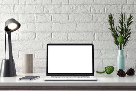 Foto de Computer Mockup, PC screen on table in office, 3d rendering of workspace - Imagen libre de derechos