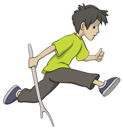 Illustration of running boy with a stick