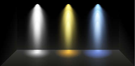 Illustration pour Set of colored searchlights on a black background. Bright lighting with spotlights. The searchlight is white, blue - image libre de droit
