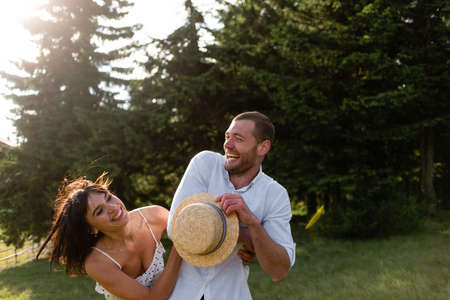 Photo for Lovers are laughing. Happy couple on vacation. Happy guy and girl. - Royalty Free Image