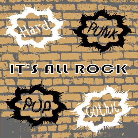 against the background of the old wall of words for everyone who loves to rock. vector illustration