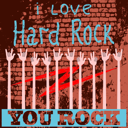 against the background of the old wall of words and a lot of hands raised, for all who love to rock. vector illustration