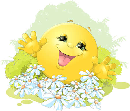 Illustration for hilarious bun is happy on the background of flowers - Royalty Free Image