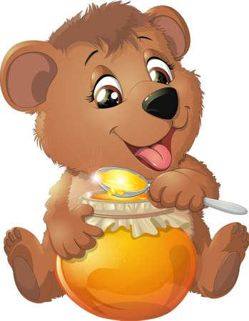 Ilustración de Bear eat honey on a white background - Imagen libre de derechos