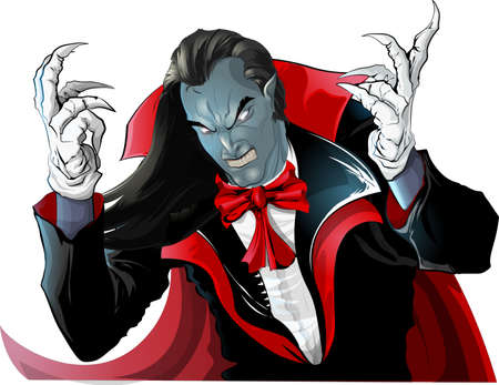 Illustration pour angry vampire in hood painted on white background - image libre de droit