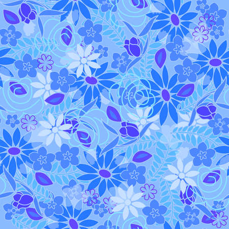 Illustration pour Seamless beautiful flower pattern. Vector illustration on fabric, wallpaper, wrapping wrapper. - image libre de droit