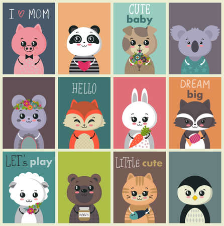 Illustration pour Vector collection of cute baby cards. Colorful funny animal characters. - image libre de droit