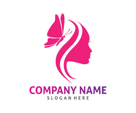butterfly women beauty vector icon logo design template