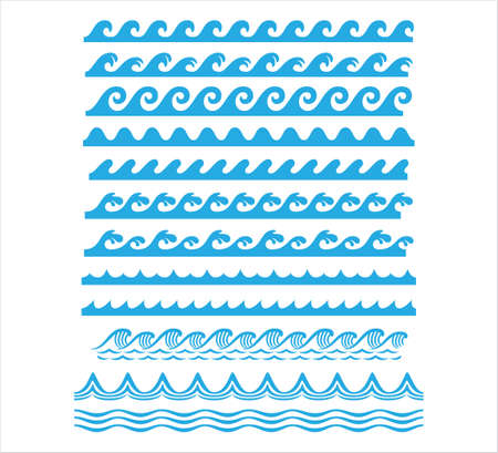 Illustration for rolling ocean sea wave stream line seamless pattern vector graphic design set template - Royalty Free Image