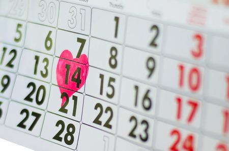 Photo pour calendar,  St. Valentine's Day with heart,  February 14, 2018 - image libre de droit