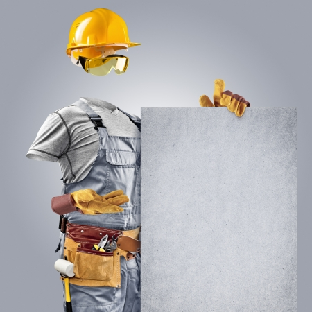 invisible builder shows information poster on grey background