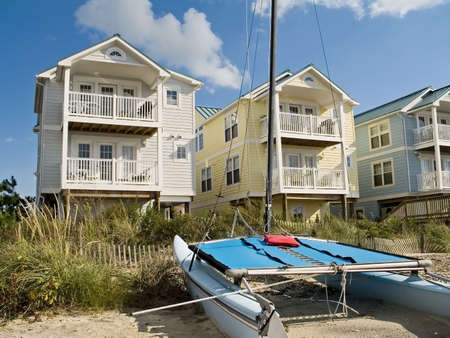 A row of beautiful and colorful new condos along the Jersey shore.