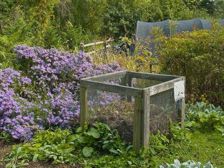 A example of a compost bin in an organic garden.