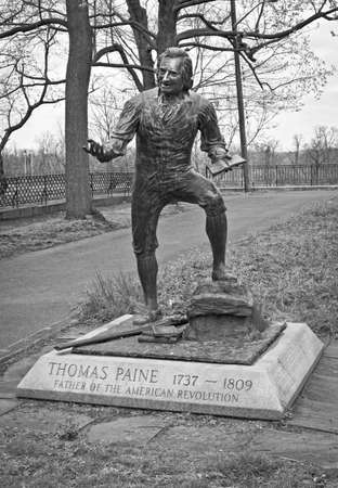 A statue of Thomas Paine, father of the American Revolution in Bordentown, New Jersey.